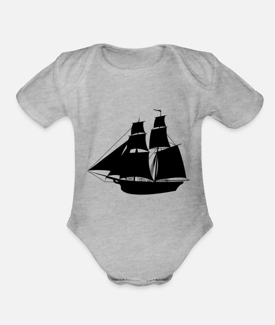 Anchor Baby One Pieces - ship - Organic Short-Sleeved Baby Bodysuit heather gray