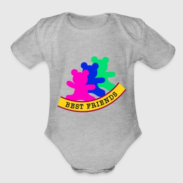 best friends / friends - Organic Short Sleeve Baby Bodysuit