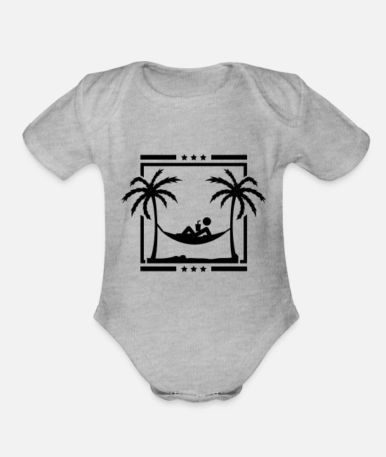 Palm Trees Baby One Pieces - relax_palms_dy1 - Organic Short-Sleeved Baby Bodysuit heather gray