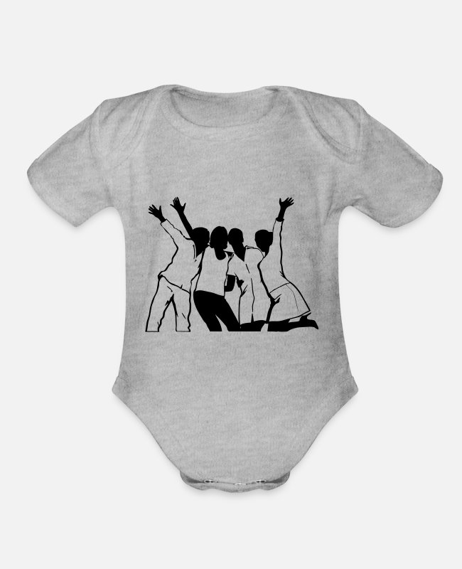 Social Baby One Pieces - friends - Organic Short-Sleeved Baby Bodysuit heather gray