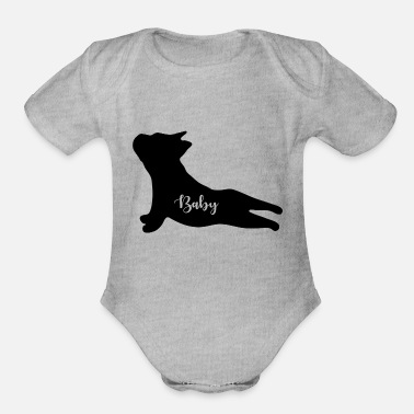 Bulldog Baby Silhouette Bulldog Puppy Gifts for babies. - Organic Short-Sleeved Baby Bodysuit