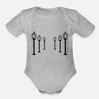Raod street lamp light - Organic Short-Sleeved Baby Bodysuit