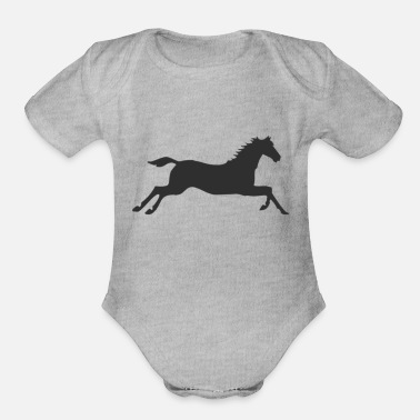 Gallop Horse at a gallop - Organic Short-Sleeved Baby Bodysuit