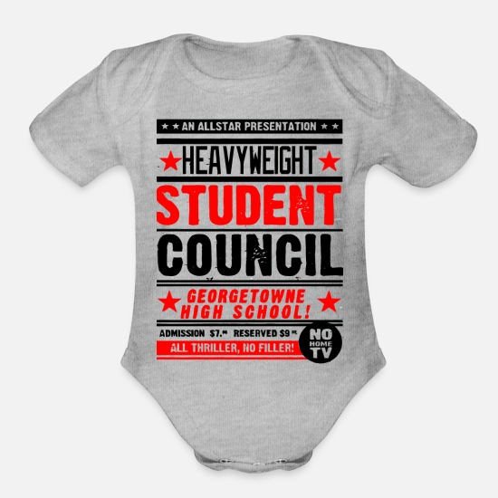 Heavyweight Baby Clothing - AN ALLSTAR PRESENTATION HEAVYWEIGHT STUDENT COUNCI - Organic Short-Sleeved Baby Bodysuit heather gray