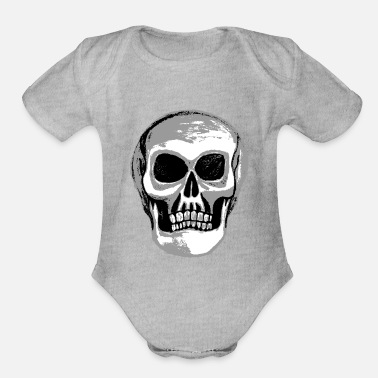 Bones rock n roll metal skull - Organic Short-Sleeved Baby Bodysuit