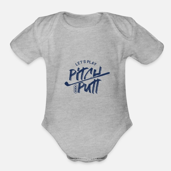 Putt Baby Clothing - Pitch and Putt - Organic Short-Sleeved Baby Bodysuit heather gray