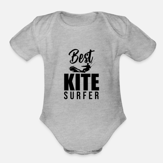 Surfer Baby Clothing - Kite Surfers - Organic Short-Sleeved Baby Bodysuit heather gray