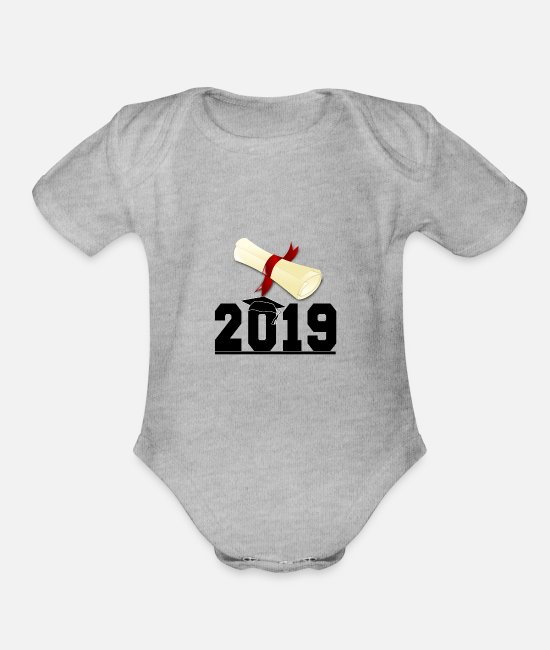 Graduation Baby One Pieces - Graduation - Organic Short-Sleeved Baby Bodysuit heather gray