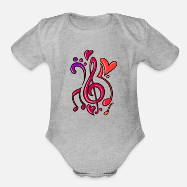 Electricity Guitar Music Note Musician - Organic Short-Sleeved Baby Bodysuit