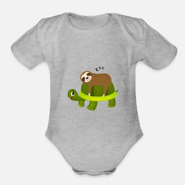 Ride Turtle Sloth Riding Turtle Gift - Organic Short-Sleeved Baby Bodysuit