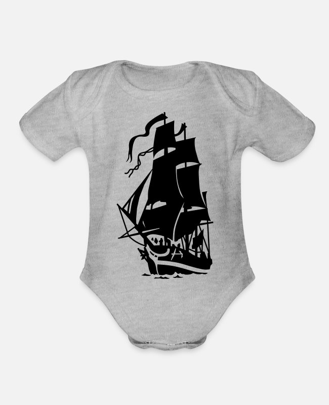 Sail Boat Baby One Pieces - ship - Organic Short-Sleeved Baby Bodysuit heather gray