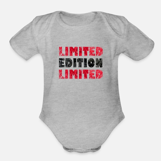 Christmas Present Baby Clothing - Limited Edition - Organic Short-Sleeved Baby Bodysuit heather gray