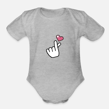 Korean heart finger love korean pop - Organic Short-Sleeved Baby Bodysuit