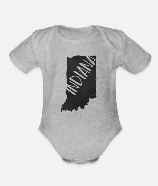 Design Baby One Pieces - Indiana - Organic Short-Sleeved Baby Bodysuit heather gray