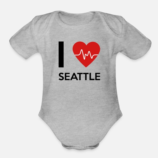 Lettering Baby Clothing - I Love Seattle - Organic Short-Sleeved Baby Bodysuit heather gray