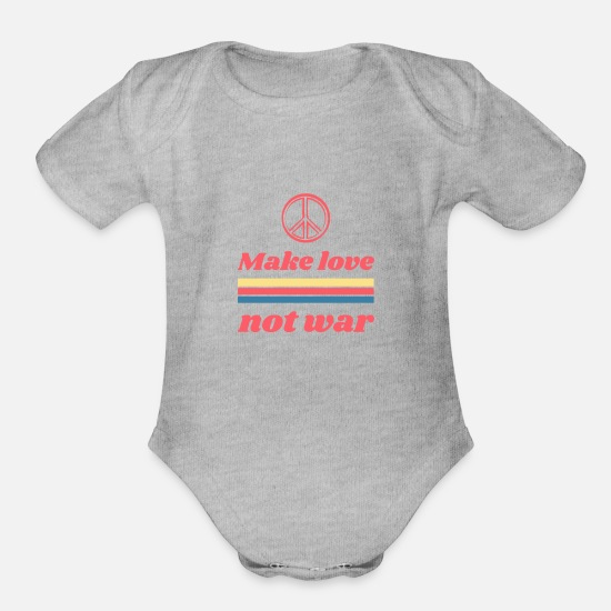 Pattern Baby Clothing - Make love not war - hippie 70s - Organic Short-Sleeved Baby Bodysuit heather gray