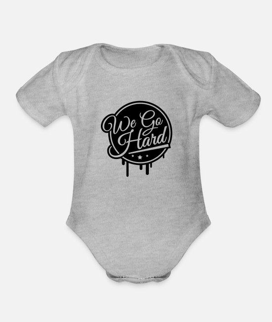 Training Baby One Pieces - we_go_hard_zu1 - Organic Short-Sleeved Baby Bodysuit heather gray