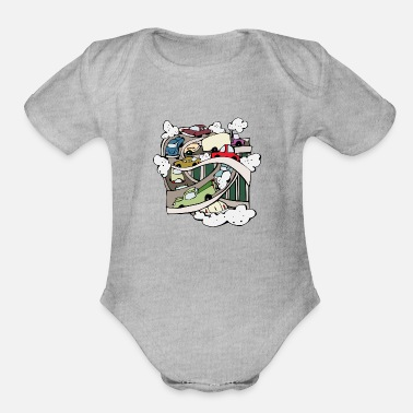 Smoke car-pollution - Organic Short-Sleeved Baby Bodysuit
