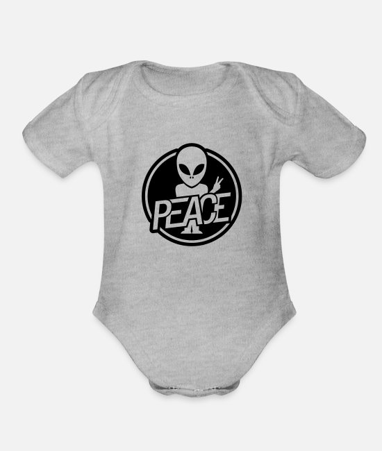 Alien Baby One Pieces - peace_alien_design_sa1 - Organic Short-Sleeved Baby Bodysuit heather gray