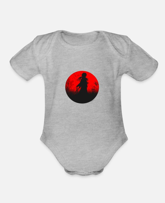 Anime Baby One Pieces - Anime - Organic Short-Sleeved Baby Bodysuit heather gray