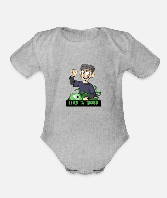 Boss Baby One Pieces - Like A Boss - Organic Short-Sleeved Baby Bodysuit heather gray