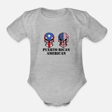 7902714f17ab Puerto Rico Puerto Rican American Flag Skulls - Organic Short-Sleeved Baby  Bodysuit