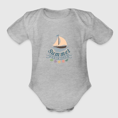Summer Ocean Waves yacht breeze shells Adventure - Organic Short Sleeve Baby Bodysuit