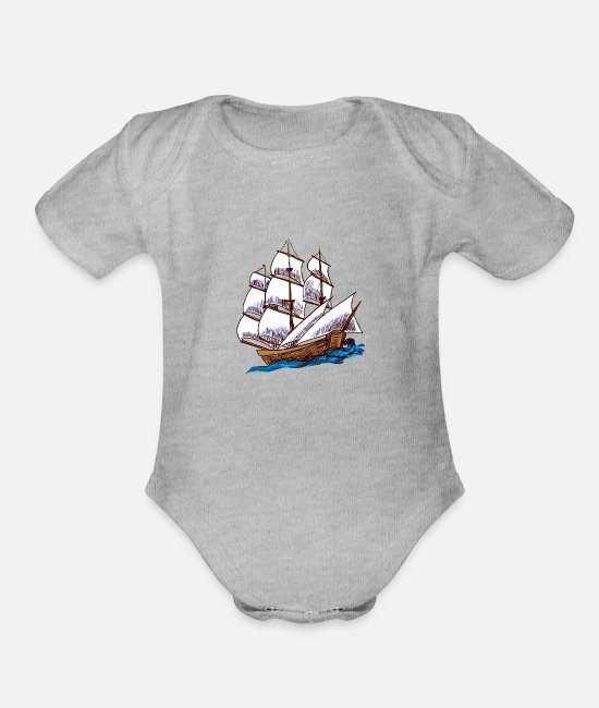 Water Baby One Pieces - Ship - Organic Short-Sleeved Baby Bodysuit heather gray