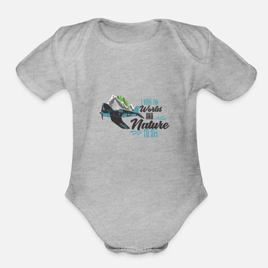 Nature Idea Gift Baby Clothing - Nature - Organic Short-Sleeved Baby Bodysuit heather gray