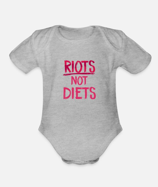 Social Baby One Pieces - Riots Not Diets - Organic Short-Sleeved Baby Bodysuit heather gray