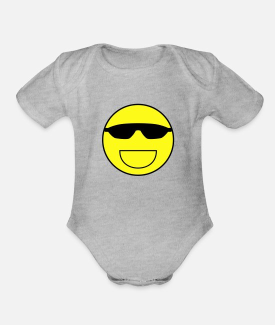 Weak Baby One Pieces - Cool smiley - Organic Short-Sleeved Baby Bodysuit heather gray