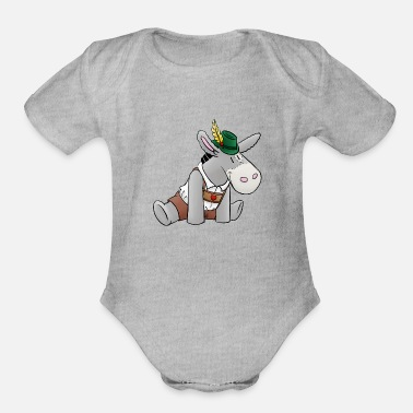 Leather Pants Fluffy donkey in bavarian leather pants - Organic Short-Sleeved Baby Bodysuit