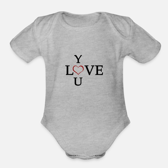 Love You Baby Clothing - Love You - Organic Short-Sleeved Baby Bodysuit heather gray