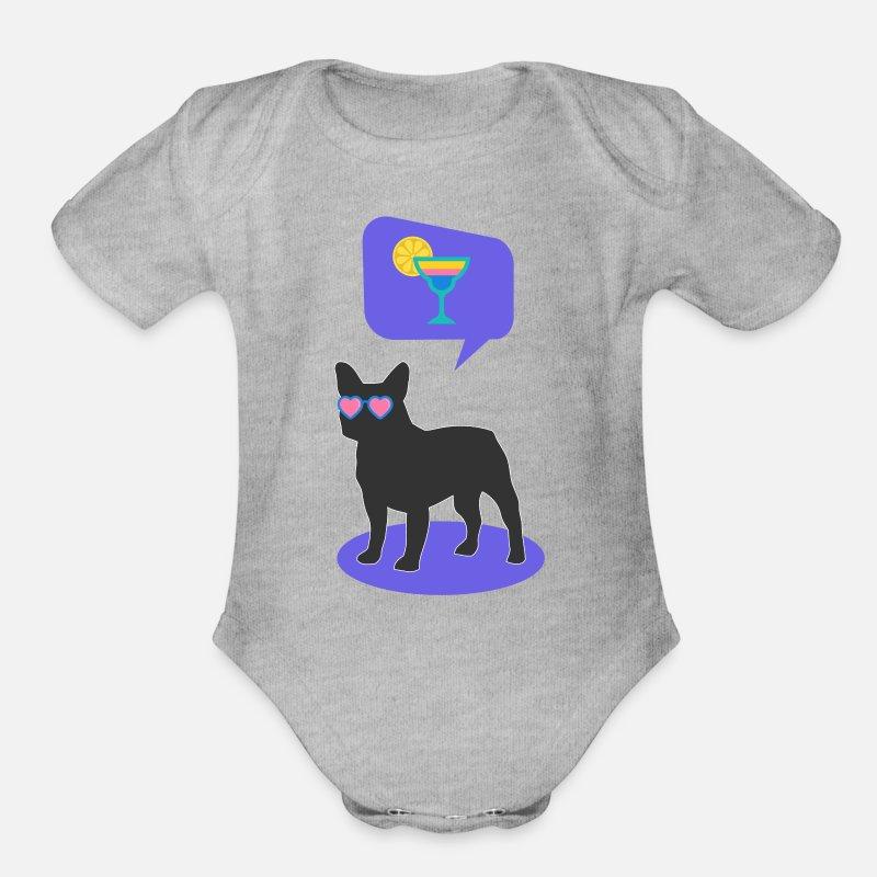 Bulldog Baby Clothing French Short Sleeved Bodysuit Heather Gray