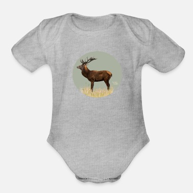 Red Deer Red deer in Forest - Organic Short-Sleeved Baby Bodysuit