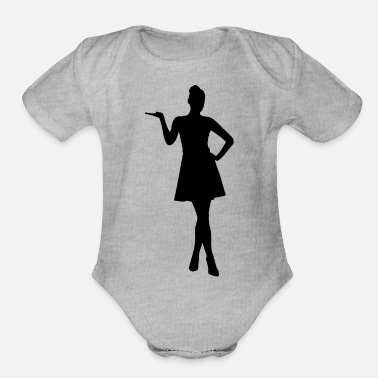 Female Woman With Hand On Hip Silhouette - Organic Short-Sleeved Baby Bodysuit