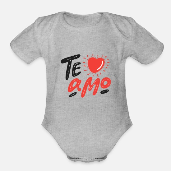Love Baby Clothing - Love Amore Valentines day girlfriend i love you - Organic Short-Sleeved Baby Bodysuit heather gray