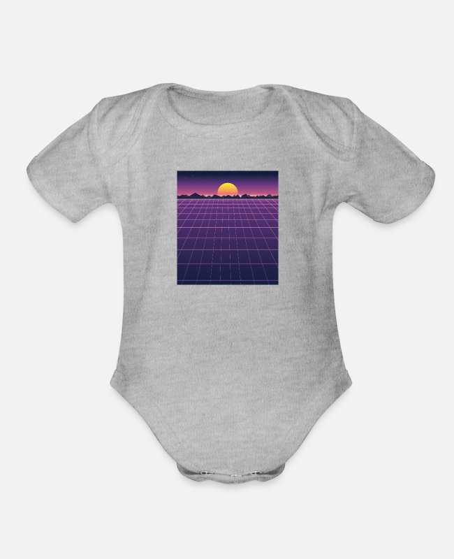 Futuristic Baby One Pieces - Retro futuristic background 1980s style - Organic Short-Sleeved Baby Bodysuit heather gray