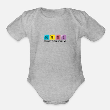 Genius Booster Genius | Primary Elements Of Me - Organic Short-Sleeved Baby Bodysuit