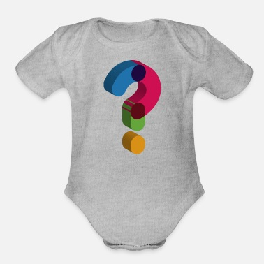 Mark Something question mark sign - Organic Short Sleeve Baby Bodysuit