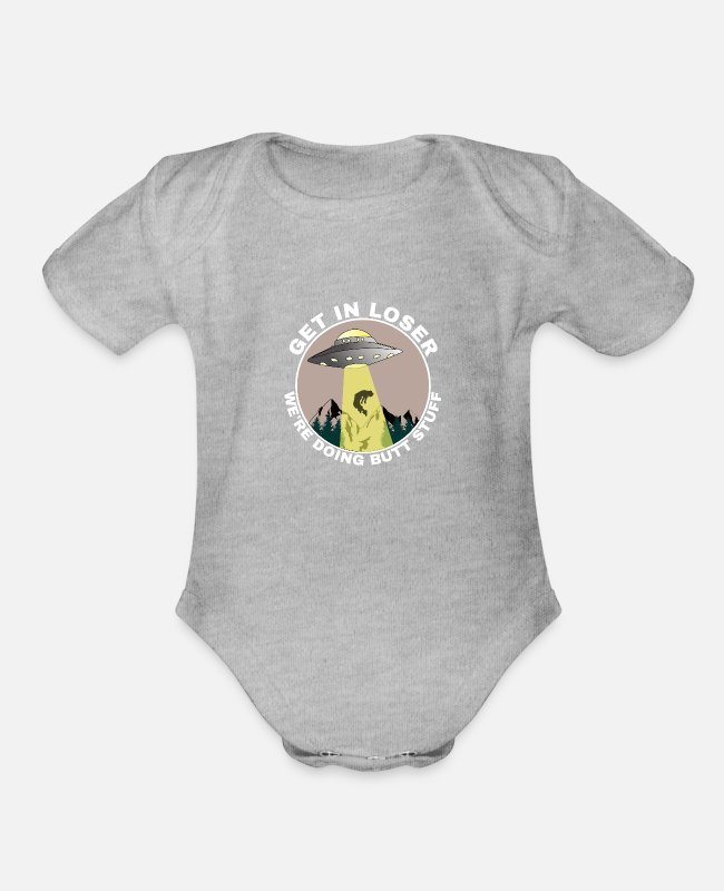 Space Baby One Pieces - Alien Extraterrestrial Abduction hijack gift myth - Organic Short-Sleeved Baby Bodysuit heather gray