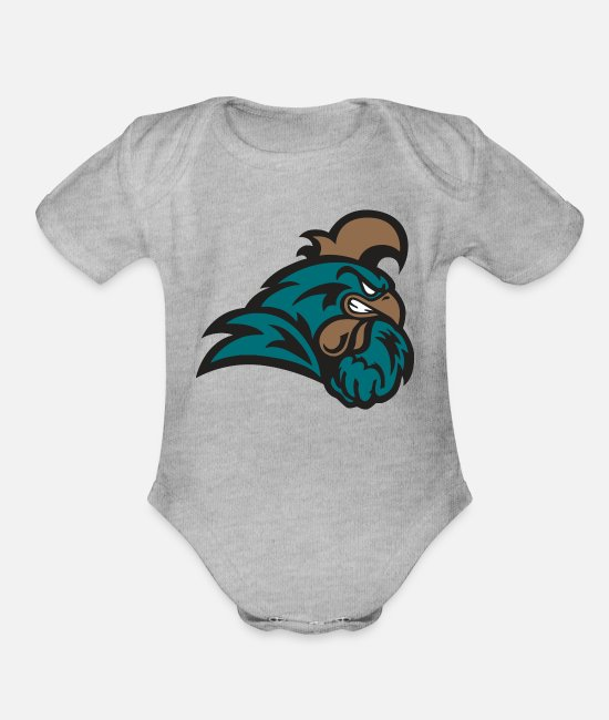 Graphic Art Baby One Pieces - Rooster - Organic Short-Sleeved Baby Bodysuit heather gray