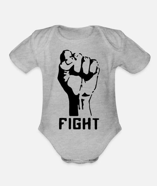 Graphic Art Baby One Pieces - Fight - Organic Short-Sleeved Baby Bodysuit heather gray