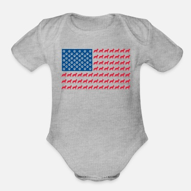German Shepard-USA-Flag - Organic Short-Sleeved Baby Bodysuit
