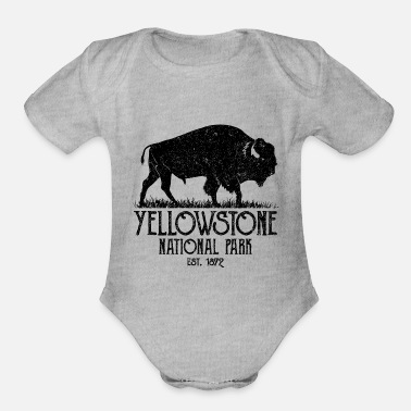 Yellowstone Bison Vintage Yellowstone National Park Buffalo Bison - Organic Short-Sleeved Baby Bodysuit