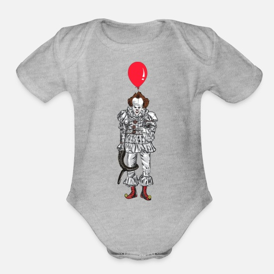 Clown Baby Clothing - clown red ballon - Organic Short-Sleeved Baby Bodysuit heather gray