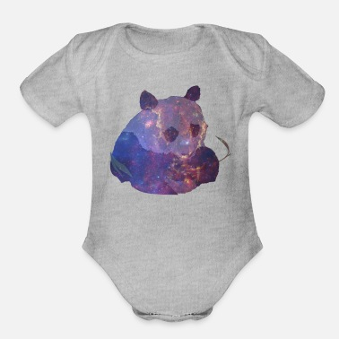 galaxy panda - Organic Short-Sleeved Baby Bodysuit