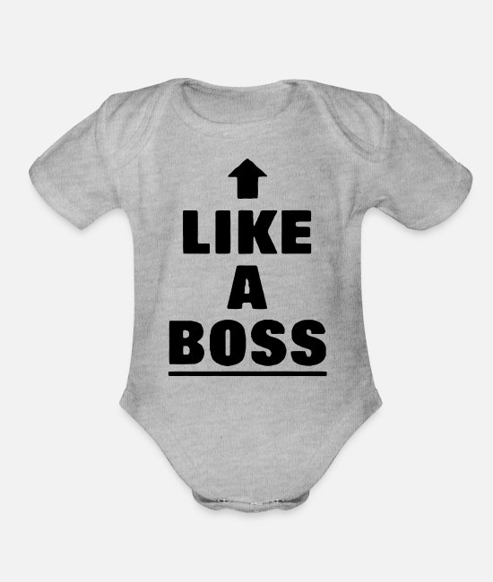Movie Baby One Pieces - like a boss - Organic Short-Sleeved Baby Bodysuit heather gray