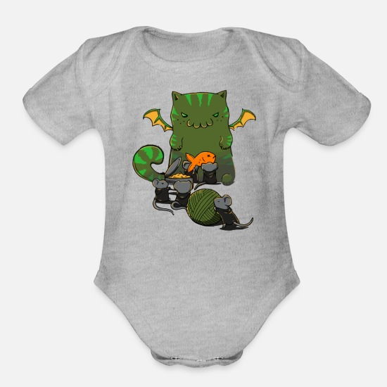 Cultural Capital Baby Clothing - Cult of Cathulhu - Organic Short-Sleeved Baby Bodysuit heather gray