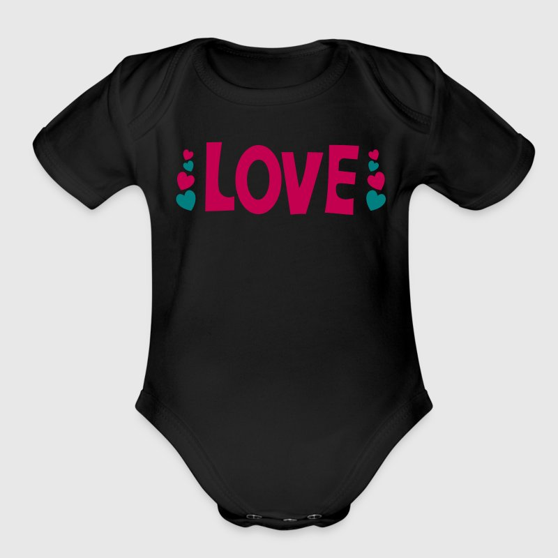 love the word with cute little hearts - Organic Short Sleeve Baby Bodysuit